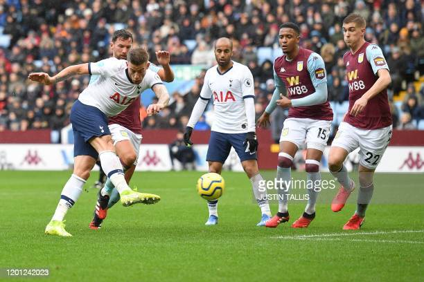 Tottenham Hotspur's Belgian defender Toby Alderweireld scores the equalising goal during the English Premier League football match between Aston...