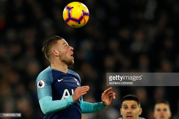 Tottenham Hotspur's Belgian defender Toby Alderweireld wins a header during the English Premier League football match between Fulham and Tottenham...