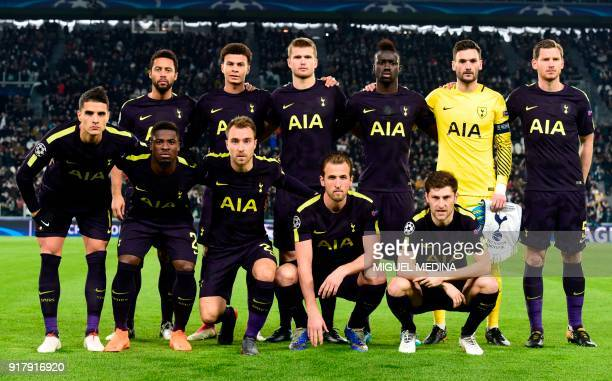 Tottenham Hotspur's Belgian midfielder Mousa Dembele English midfielder Dele Alli English defender Eric Dier Colombian defender Davinson Sanchez...