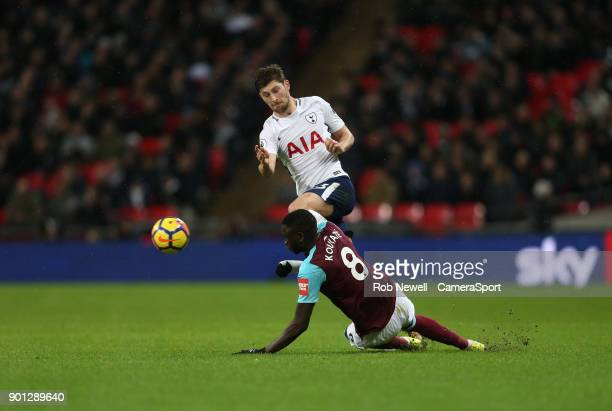 Tottenham Hotspur's Ben Davies West Ham United's Cheikhou Kouyate during the Premier League match between Tottenham Hotspur and West Ham United at...