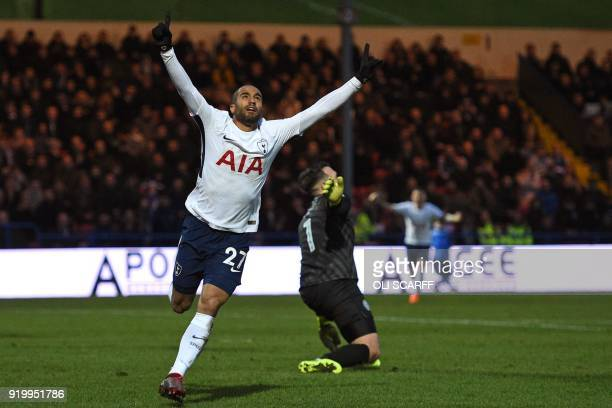Tottenham Hotspur's Brazilian midfielder Lucas Moura celebrates after scoring their first goal during the English FA Cup fifth round football match...