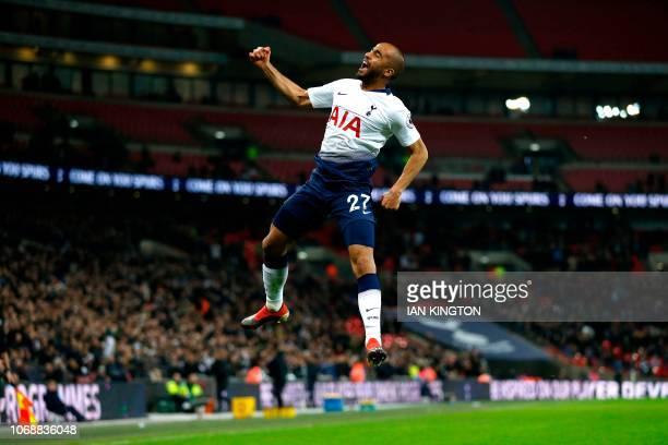 Tottenham Hotspur's Brazilian midfielder Lucas Moura celebrates scoring his team's second goal during the English Premier League football match...