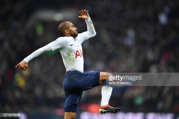 Tottenham Hotspur's Brazilian midfielder Lucas Moura celebrates scoring their third goal during the English Premier League football match between...