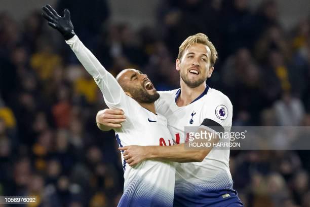 Tottenham Hotspur's Brazilian midfielder Lucas Moura celebrates with Tottenham Hotspur's English striker Harry Kane after scoring their second goal...