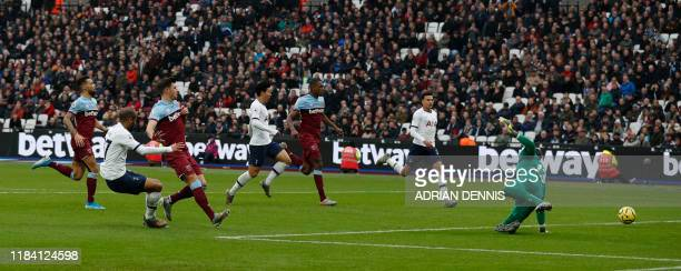 Tottenham Hotspur's Brazilian midfielder Lucas Moura misses a chance at goal during the English Premier League football match between West Ham United...