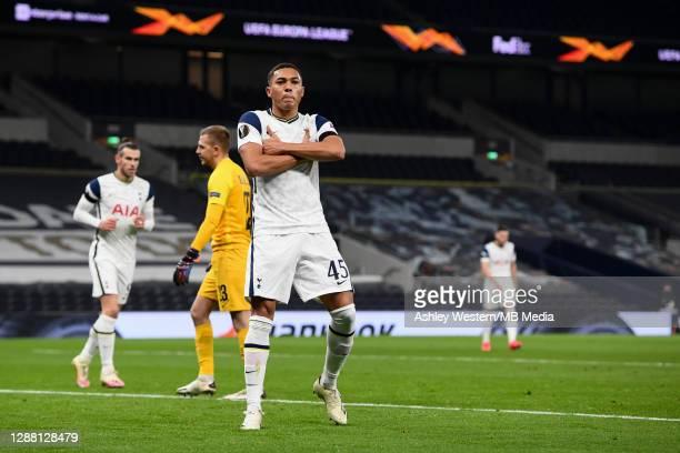 Tottenham Hotspur's Carlos Vinicius celebrates scoring the opening goal during the UEFA Europa League Group J stage match between Tottenham Hotspur...