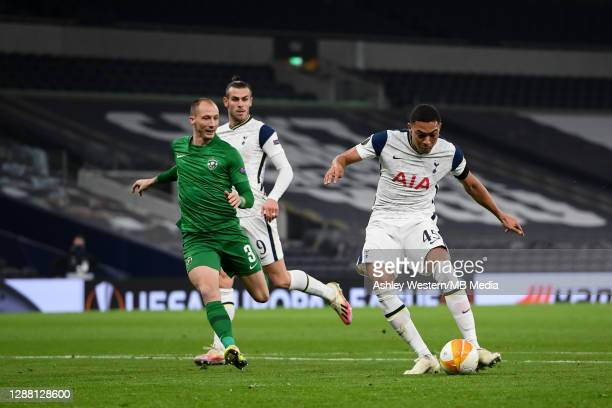 Tottenham Hotspur's Carlos Vinicius scores the opening goal during the UEFA Europa League Group J stage match between Tottenham Hotspur and PFC...