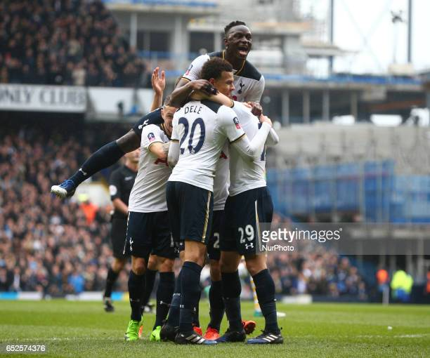Tottenham Hotspur's Christian Eriksen celebrates his goal with Tottenham Hotspur's Victor Wanyama during the The Emirates FA Cup Sixth Round match...