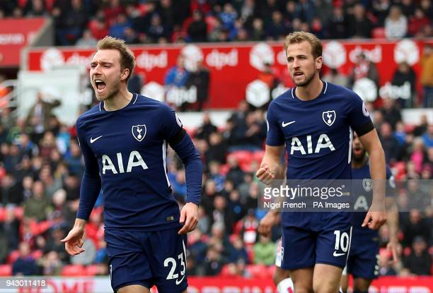 Tottenham Hotspur's Christian Eriksen celebrates scoring his side's first goal of the game with Harry Kane during the Premier League match at the...