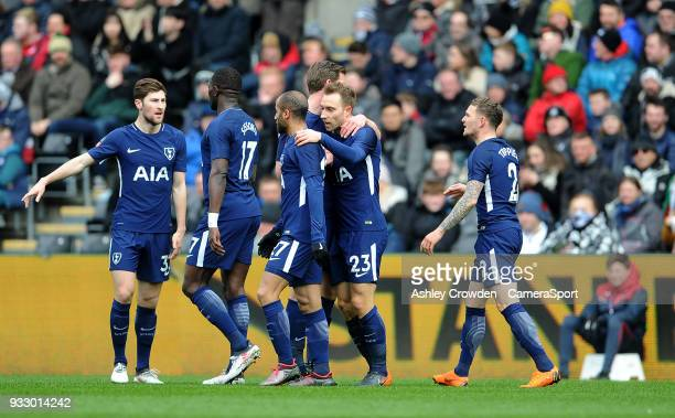 CELE Tottenham Hotspur's Christian Eriksen celebrates scoring the opening goal during the Emirates FA Cup QuarterFinal between Swansea City and...