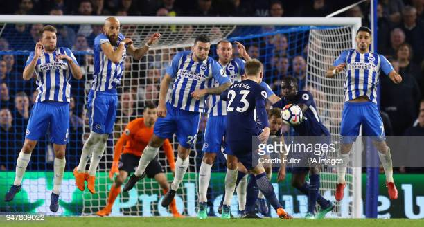 Tottenham Hotspur's Christian Eriksen has a freekick blocked during the Premier League match at the AMEX Stadium Brighton