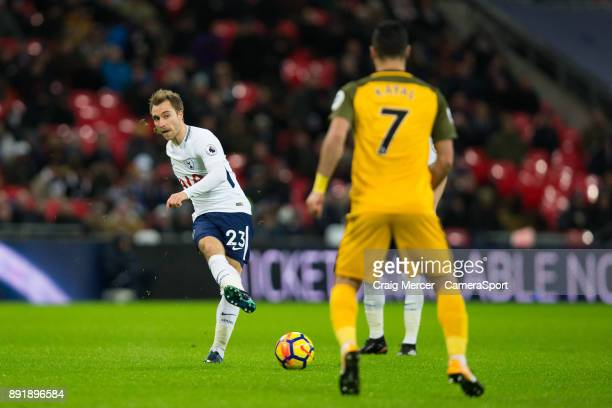 Tottenham Hotspur's Christian Eriksen in action during the Premier League match between Tottenham Hotspur and Brighton and Hove Albion at Wembley...