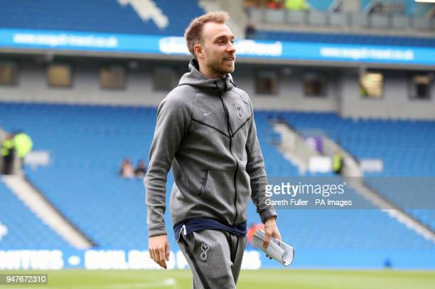 Tottenham Hotspur's Christian Eriksen on the pitch before the Premier League match at the AMEX Stadium Brighton