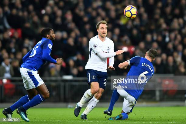 Tottenham Hotspur's Christian Eriksen plays over Everton's Phil Jagielka during the Premier League match between Tottenham Hotspur against Everton at...