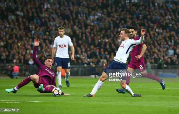 Tottenham Hotspur's Christian Eriksen scores his sides first goal during the Premiership League match between Tottenham Hotspur and Manchester City...