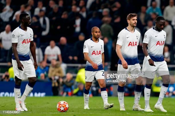 Tottenham Hotspur's Colombian defender Davinson Sanchez Tottenham Hotspur's Brazilian midfielder Lucas Moura Tottenham Hotspur's Spanish striker...