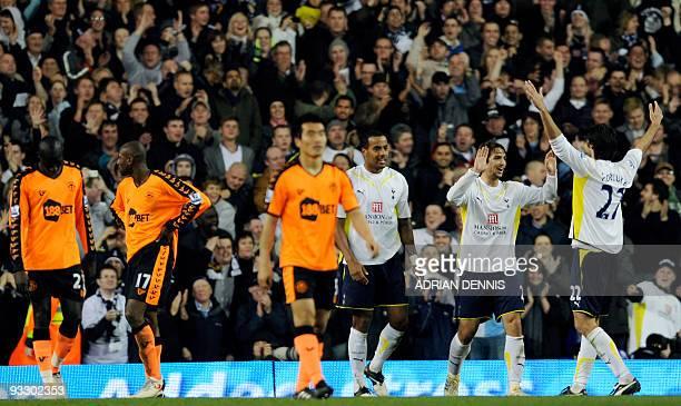 Tottenham Hotspurs' Croatian Niko Kranjcar celebrates scoring the ninth goal against Wigan Athletic during the Premiership match at White Hart Lane...