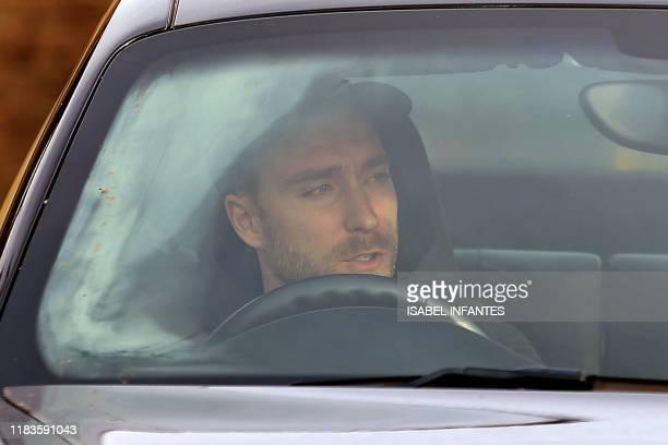 Tottenham Hotspur's Danish midfielder Christian Eriksen arrives at Tottenham Hotspur's Enfield Training Centre in north London on November 20 2019...