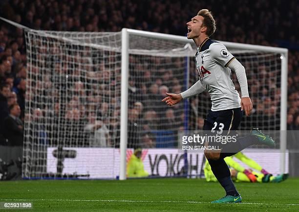 Tottenham Hotspur's Danish midfielder Christian Eriksen celebrates scoring the opening goal during the English Premier League football match between...