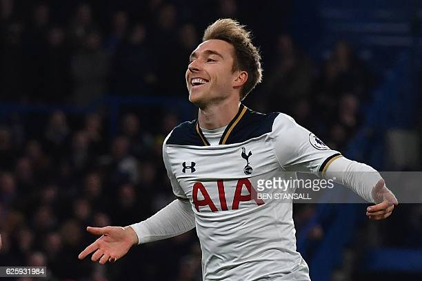 Tottenham Hotspur's Danish midfielder Christian Eriksen celebrates scoring the opening goal during the English Premier League football match between...