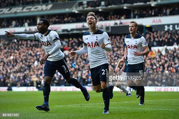 Tottenham Hotspur's Danish midfielder Christian Eriksen celebrates after his shot was defelected by West Bromwich Albion's Northern Irish defender...