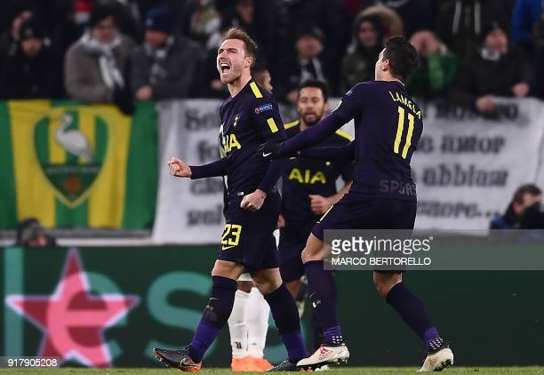 Tottenham Hotspur's Danish midfielder Christian Eriksen celebrates scoring his team's second goal during the UEFA Champions League round of sixteen...
