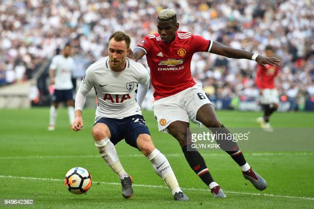 Tottenham Hotspur's Danish midfielder Christian Eriksen L0 vies with Manchester United's French midfielder Paul Pogba during the English FA Cup...