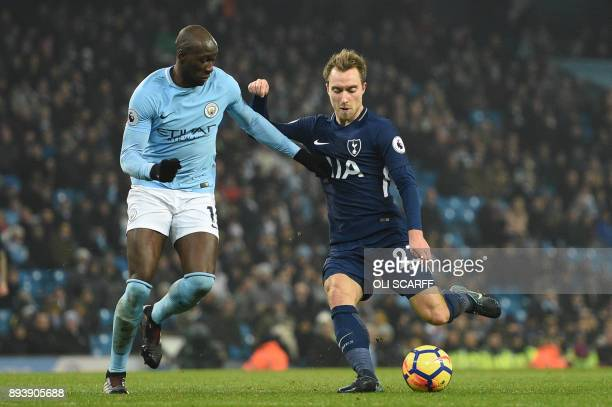 Tottenham Hotspur's Danish midfielder Christian Eriksen shoots and scores during the English Premier League football match between Manchester City...