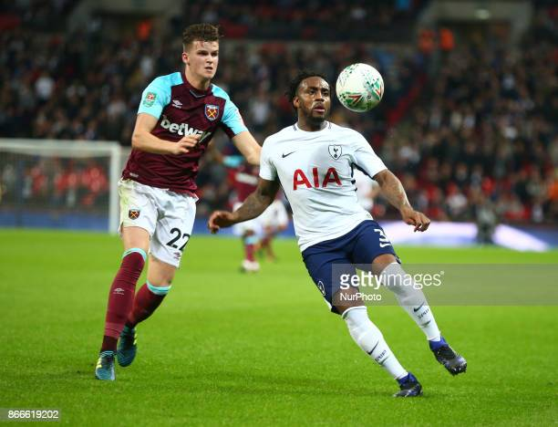 Tottenham Hotspur's Danny Rose holds of West Ham United's Sam Byram during Carabao Cup 4th Round match between Tottenham Hotspur and West Ham United...