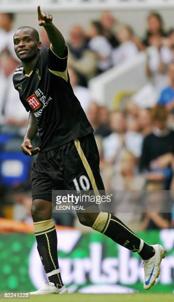 Tottenham Hotspurs' Darren Bent celebrates his second goal during a preseason friendly against AC Roma at White Hart Lane in London on August 10 2008...
