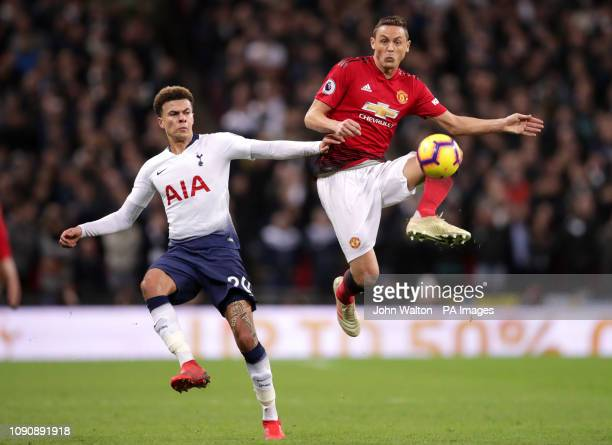 Tottenham Hotspur's Dele Alli and Manchester United's Nemanja Matic battle for the ball