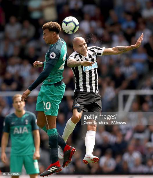 Tottenham Hotspur's Dele Alli and Newcastle United's Jonjo Shelvey battle for the ball during the Premier League match at St James' Park Newcastle