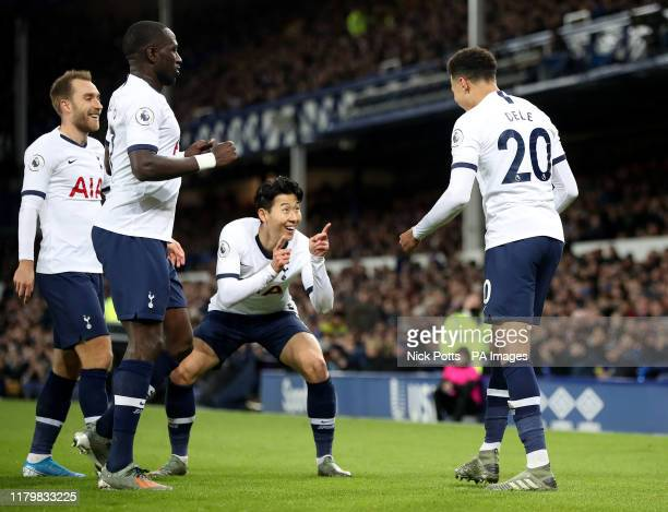 Tottenham Hotspur's Dele Alli celebrates scoring his side's first goal of the game with Son Heungmin during the Premier League match at Goodison Park...