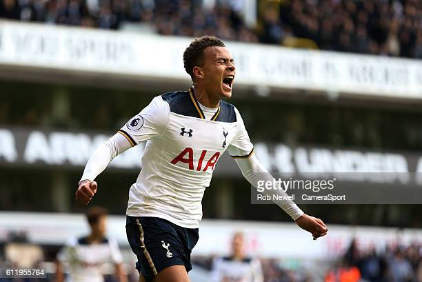 Tottenham Hotspur's Dele Alli celebrates scoring his sides second goal during the Premier League match between Tottenham Hotspur and Manchester City...