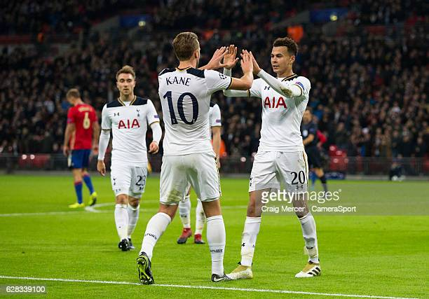 Tottenham Hotspur's Dele Alli celebrates scoring his sides third goal with team mate Harry Kane during the UEFA Champions League match between...