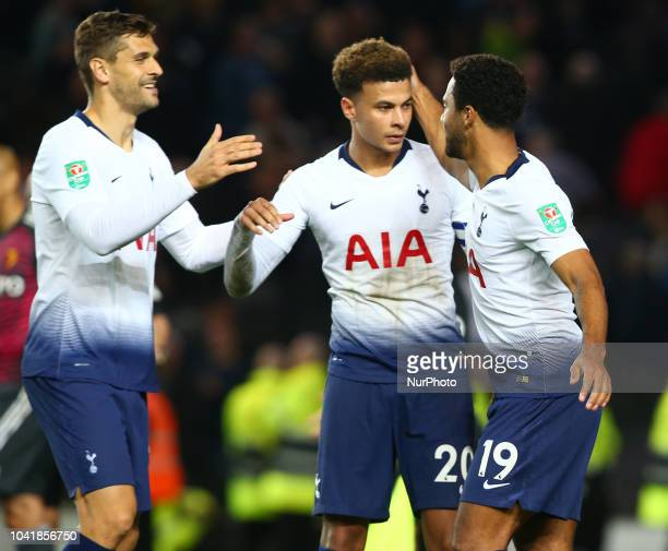 Tottenham Hotspur's Dele Alli celebrates with Tottenham Hotspur's Fernando Llorente and Tottenham Hotspur's Mousa Dembele during Carabao Cup 3rd...