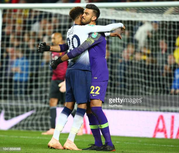 Tottenham Hotspur's Dele Alli celebrates with Tottenham Hotspur's Paulo Gazzaniga during Carabao Cup 3rd Round match between Tottenham Hotspur and...
