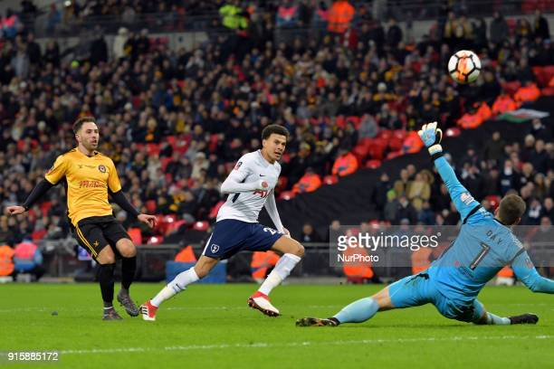 Tottenham Hotspur's Dele Alli misses a great chance during the FA Cup Fourth Round replay match between Tottenham Hotspur and Newport County at...