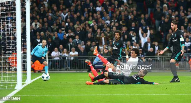 Tottenham Hotspur's Dele Alli scores his sides first goal during Champion League match between Tottenham Hotspur against Real Madrid at Hotspur Way...