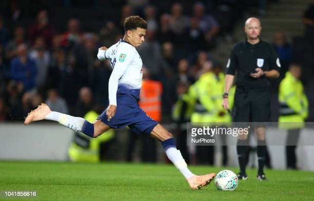 Tottenham Hotspur's Dele Alli scores the winning penalty during Carabao Cup 3rd Round match between Tottenham Hotspur and Watford at Stadium MK...