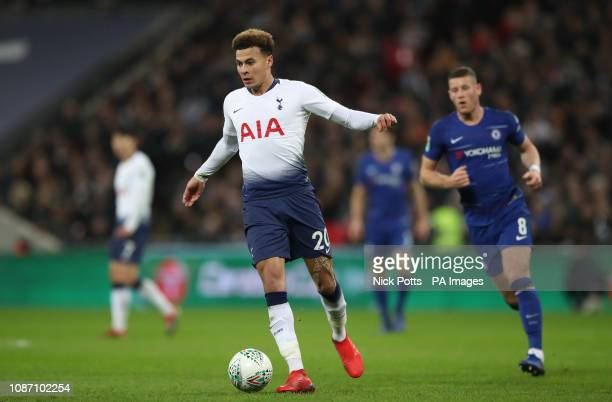 Tottenham Hotspur's Dele Alli turns away from Chelsea's Ross Barkley during the Carabao Cup semi final match at Wembley London