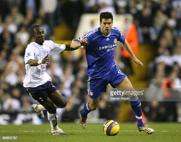 Tottenham Hotspurs' Didier Zokora and Chelsea's Michael Ballack battle for the ball