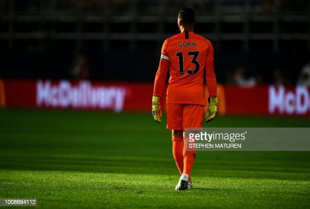 Tottenham Hotspur's Dutch goalkeeper Michel Vorm stands on the pitch in the first half of the match against AC Milan at US Bank Stadium in...
