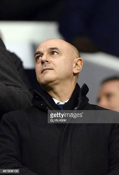 Tottenham Hotspur's English chairman Daniel Levy attends the English League Cup semifinal first leg football match between Tottenham Hotspur and...