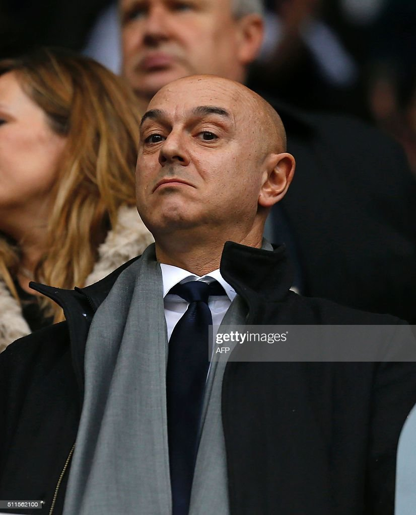 Tottenham Hotspur's English chairman Daniel Levy waits for kick off ahead of the FA cup fifth round football match between Tottenham Hotspur and Crystal Palace at White Hart Lane in London on February 21, 2016. Crystal Palace won the game 1-0. / AFP / IAN KINGTON / RESTRICTED TO EDITORIAL USE. No use with unauthorized audio, video, data, fixture lists, club/league logos or 'live' services. Online in-match use limited to 75 images, no video emulation. No use in betting, games or single club/league/player publications. /