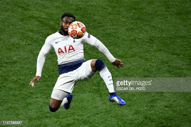 TOPSHOT Tottenham Hotspur's English defender Danny Rose controls the ball during the UEFA Champions League final football match between Liverpool and...