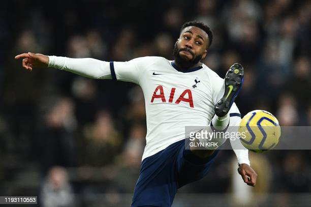 Tottenham Hotspur's English defender Danny Rose goes for the ball during the English Premier League football match between Tottenham Hotspur and...