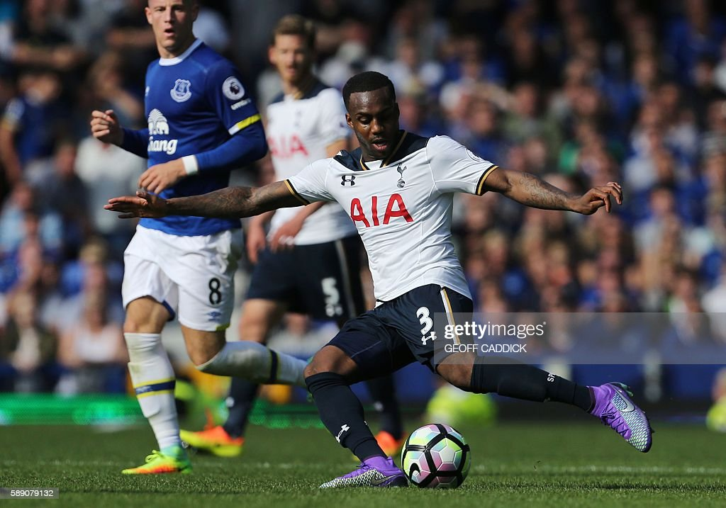 Tottenham Hotspur's English defender Danny Rose plays the ball during the English Premier League football match between Everton and Tottenham Hotspur at Goodison Park in Liverpool, north west England on August 13, 2016. / AFP / GEOFF CADDICK / RESTRICTED TO EDITORIAL USE. No use with unauthorized audio, video, data, fixture lists, club/league logos or 'live' services. Online in-match use limited to 75 images, no video emulation. No use in betting, games or single club/league/player publications. /