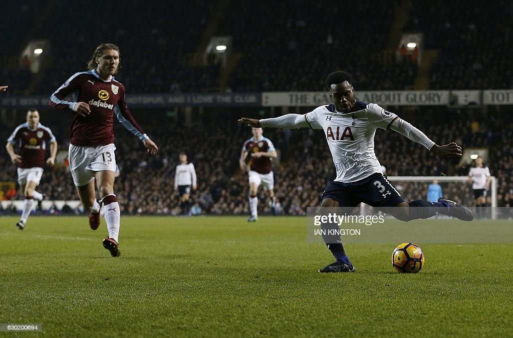 Tottenham Hotspur's English defender Danny Rose (R) scores his team's second goal during the English Premier League football match between Tottenham Hotspur and Burnley at White Hart Lane in London, on December 18, 2016. / AFP / Ian KINGTON / RESTRICTED TO EDITORIAL USE. No use with unauthorized audio, video, data, fixture lists, club/league logos or 'live' services. Online in-match use limited to 75 images, no video emulation. No use in betting, games or single club/league/player publications. /