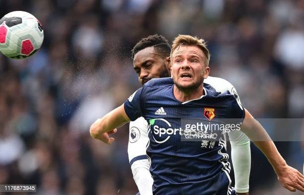 Tottenham Hotspur's English defender Danny Rose vies with Watford's English mifielder Tom Cleverley during the English Premier League football match...